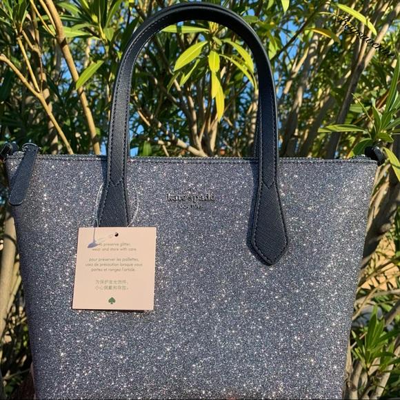 Kate spade joeley glitter small dusk blue satchel